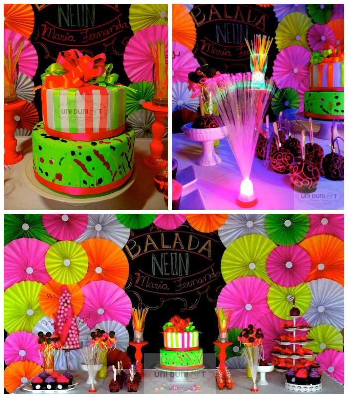 Neon themed birthday party via Kara's Party Ideas KarasPartyIdeas.com Cake, printables, supplies, games, food, and more! #neonparty #neon #neonbirthdayparty #neonpartyideas (2)