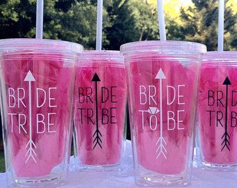 XL Bride Tribe Clear Tumblers Set Double by FutureMrsDesigns