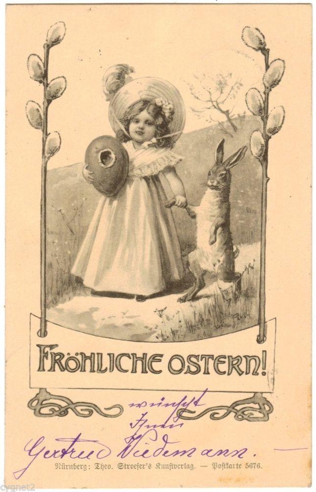 Postcard german vintage easter