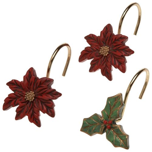 Poinsettia Shower Curtain Hooks