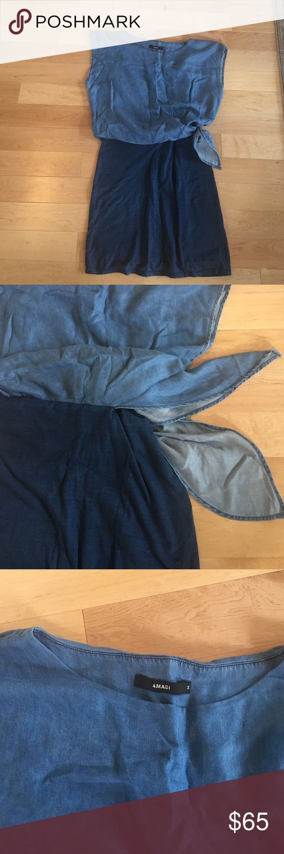 Never worn denim dress with side knot Perfect summer work dress, cap sleeves and two toned blues. Anthropologie Dresses Midi