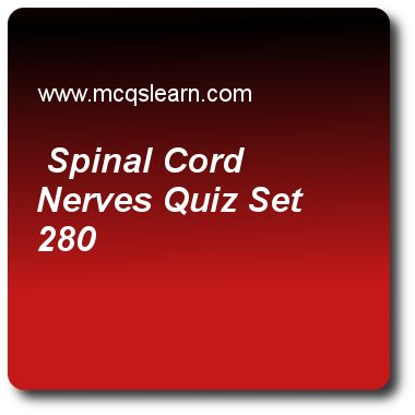 Spinal Cord Nerves Quizzes: O level biology Quiz 280 Questions and Answers - Practice biology quizzes based questions and answers to study spinal cord nerves quiz with answers. Practice MCQs to test learning on spinal cord and nerves, eutrophication: o level biology, weight reduction program, o level biology, branches of biotechnology quizzes. Online spinal cord nerves worksheets has study guide as axons of dorsal root ganglion, answer key with answers as end in grey matter of brain, end..