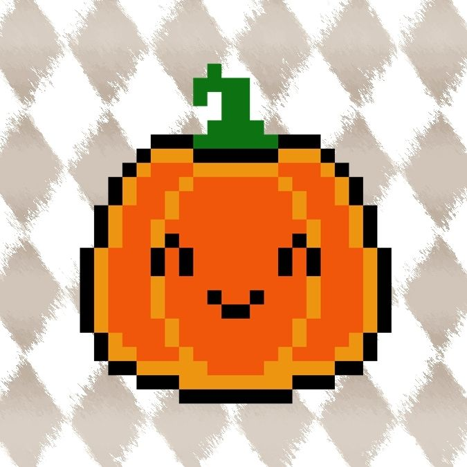 HALLOWEEN PYSSLA schema zucca KAWAII! CUTE pixel art perler beads PATTERN pumpkin *** TUTORIAL: https://youtu.be/kvNHRWaMmPE