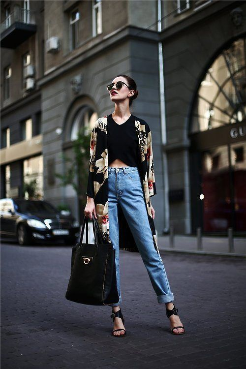 Shop this look on Lookastic:  http://lookastic.com/women/looks/sunglasses-cropped-top-kimono-jeans-tote-bag-heeled-sandals/8518  — Black Sunglasses  — Black Cropped Top  — Black Floral Kimono  — Light Blue Jeans  — Black Leather Tote Bag  — Black Leather Heeled Sandals
