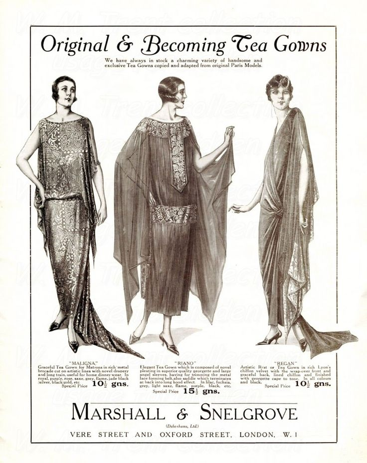 From London in 1924 an advertisements for gowns from Marshall & Snelgrove.