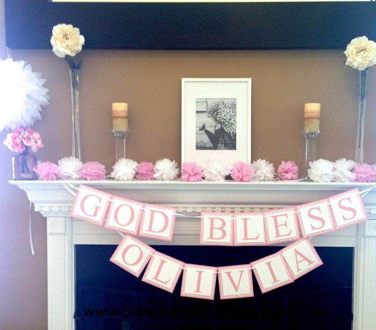 Girl Baptism Banner, Baptism Decorations, Custom Baptism Banner, Pink Baptism…