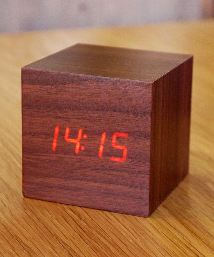 modern LED Walnut Wood Cube Alarm Clock