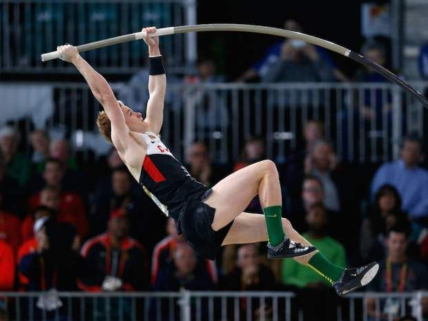 Shawnacy Barber of Canada competes in the Men's Pole Vault Final during day one of the IAAF World Indoor Championships at Oregon Convention Center on March 17, 2016 in Portland, Oregon. (Christian Petersen/Getty Images for IAAF)