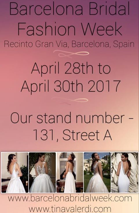 "Dear friends! We remind you, that Tina Valerdi will take part in #barcelonabridalweek  and the first day of this exhibition will be tomorrow! 👏🏼👏🏼👏🏼We kindly invite you to visit our stands #131 and have a look at our new collection of 2018 ""Barcelona Dreams"" !!! 🎉🎉🎉"