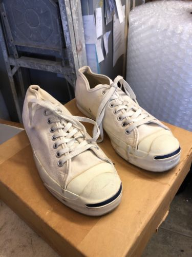 d7828d64216a17 1980s CONVERSE JACK PURCELL WHITE CANVAS Shoes SNEAKERS USA Sz 7.5 Vintage
