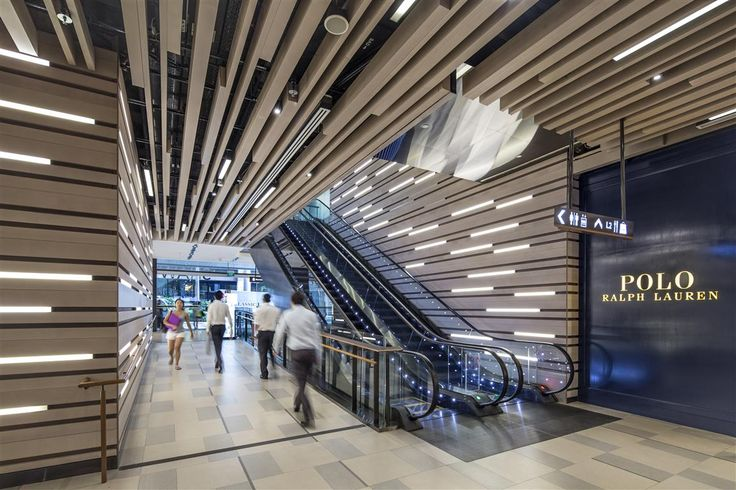 Escalator / Ceiling design / Wall design at Shaw Centre Singapore by DP Design