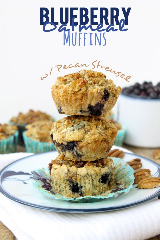 Blueberry Oatmeal Muffins with Pecan Streusel | Recipe