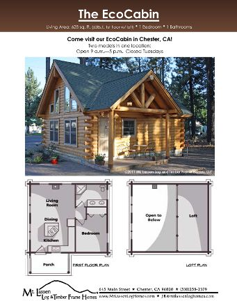 Eco-Cabin Home Plan by Mt. Lassen Log & Timber Frame Homes