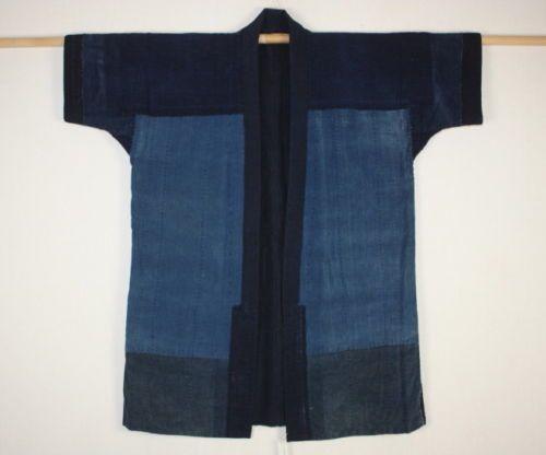 Japanese-antique-boro-Indigo-dye-cotton-Patched-sashiko-Stitch-noragi-coat