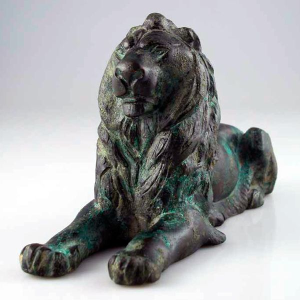 "Greco-Roman Bronze Sculpture of a Lion - FZ.342          Origin: Mediterranean          Circa: 200 BC to 200 AD          Dimensions: 5.125"" (13.0cm) high          Catalogue: V20          Collection: Classical          Style: Greco-Roman          Medium: Bronze"
