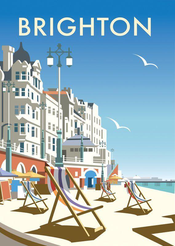 """Poster """"Brighton Beach"""" von Dave Thompson, Retro-Werbung"""