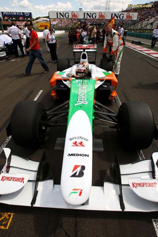 Adrian Sutil (GER) Force India F1 VJM02 on the grid. Formula One World Championship, Rd 10, Hungarian Grand Prix, Race, Budapest, Hungary, Sunday 26 July 2009. ©Hartley/Sutton/ Sutton Motorsport Images