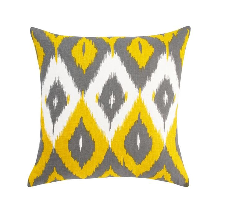 yellow + grey ikat pillow