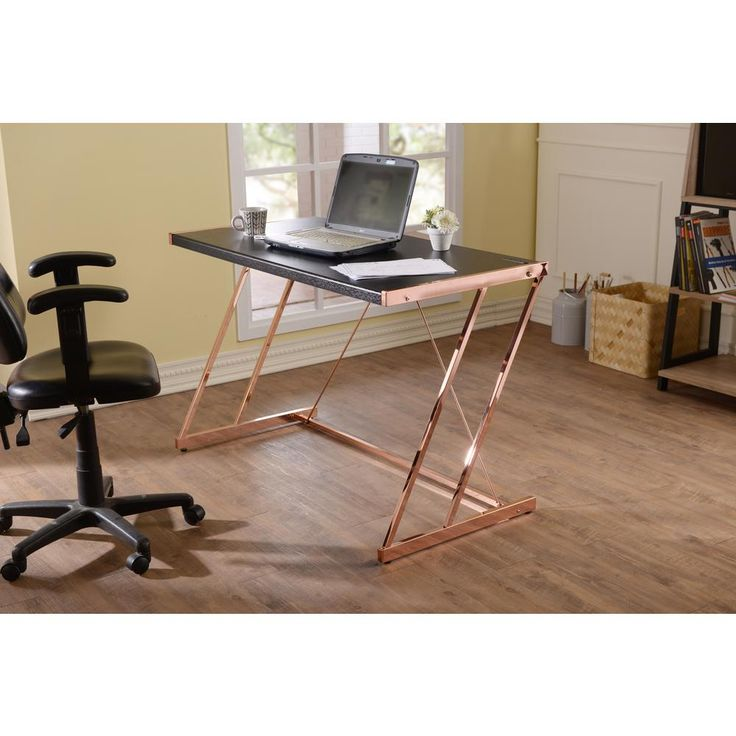Finis Writing Desk with USB Dock in Black and Rose Gold