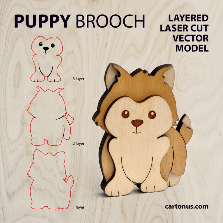 Puppy brooch. Layered FREE vector model ready for laser cut.