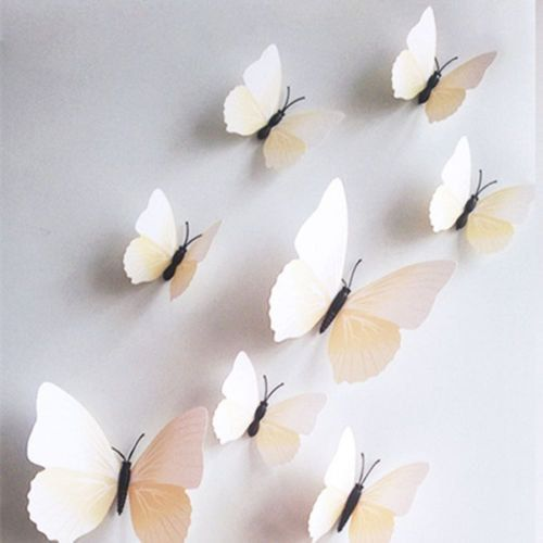 3D White Ivory Cream Wall Butterflies Cake by TheWeddingHouse