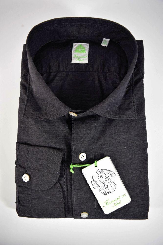 free shipping 1fcef 8644c FINAMORE camicia UOMO sartoriale casual 100% COTONE grigio ...