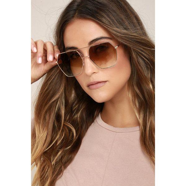 Funky Town Brown and Gold Aviator Sunglasses ($18) ❤ liked on Polyvore featuring accessories, eyewear, sunglasses, brown, brown oversized sunglasses, over sized sunglasses, oversized aviators, gold glasses and gold aviator sunglasses