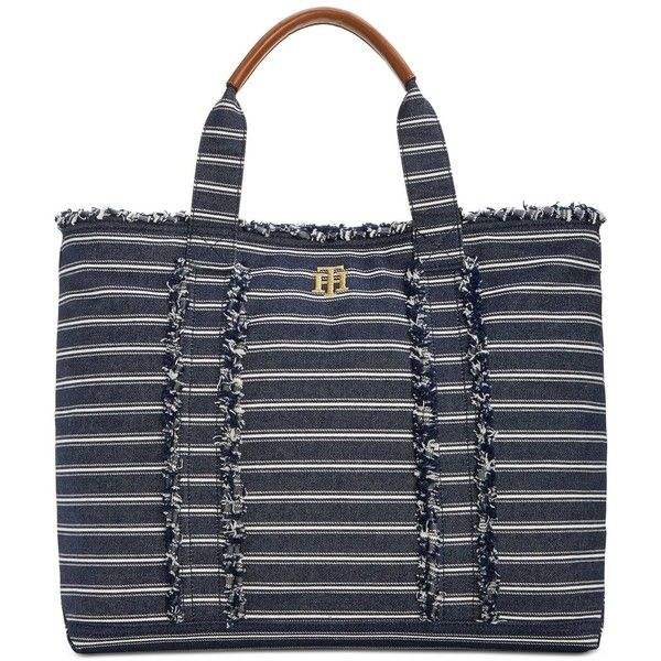 Tommy Hilfiger Esme Large Tote ($74) ❤ liked on Polyvore featuring bags, handbags, tote bags, denim, stripe tote bag, tommy hilfiger tote, striped tote handbags, striped purse and tote handbags