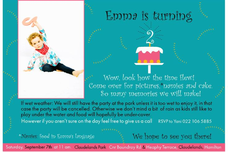 Birthday party invitation,Emma 2, photo from PT´s Foto Fun