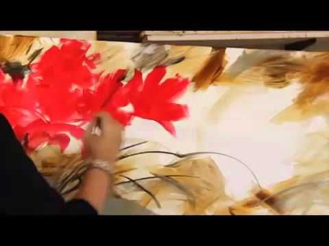 Gabriela Mensaque PINTANDO FLORES ROJAS - YouTube