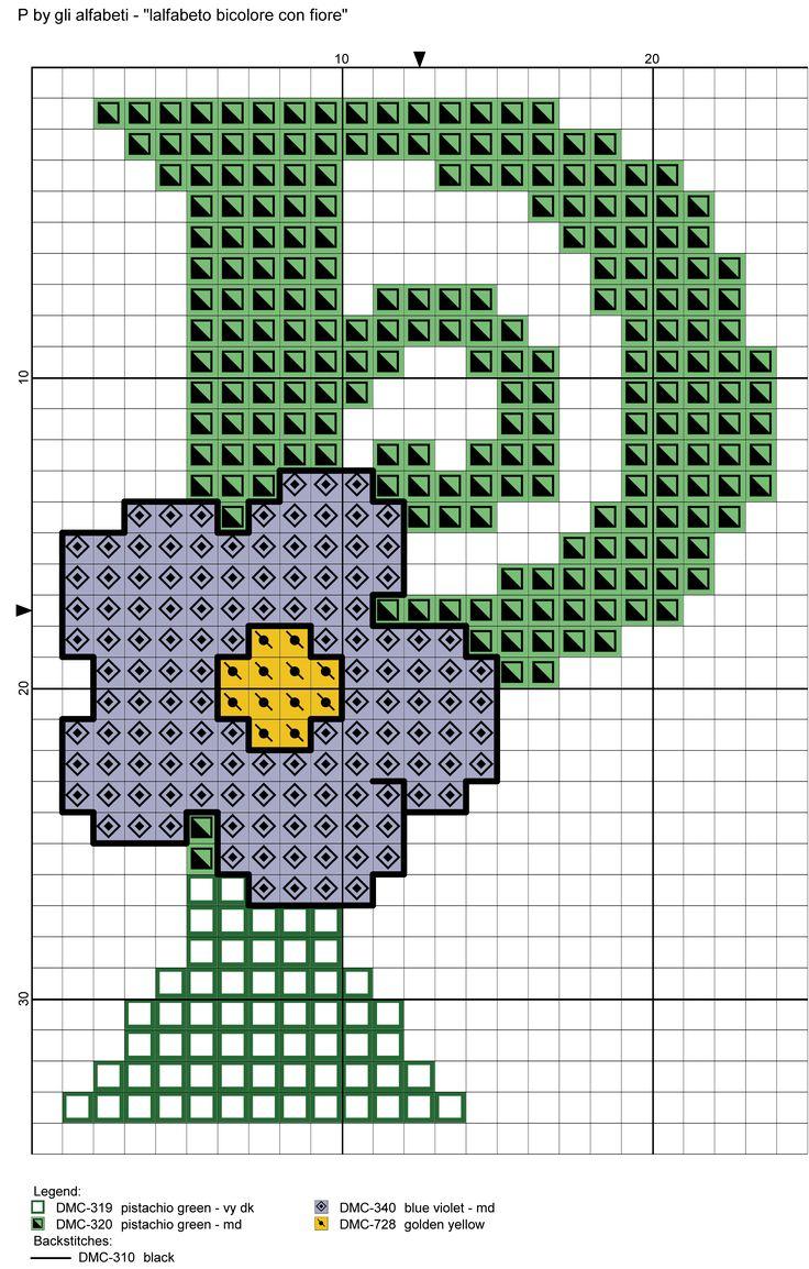 alfabeto bicolore con fiore: P