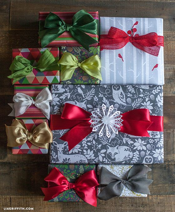 I am just adoring this grey and white animal print with the owl, fox and deer. How gorgeous is that? Grey and white birch trees with little red birds coordinates so well and a gold and white floral picks up some of the similar pattern, rounding out this set perfectly. You can download these on my site. #holdaywrap #giftwrap #holiday2014