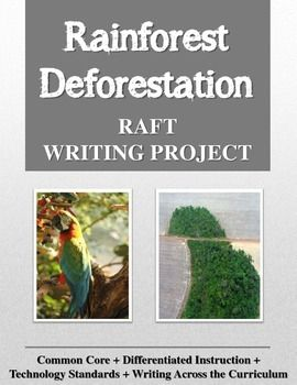 Would you like to enliven your unit of study about rainforests with a fun, challenging writing project? The Rainforest Deforestation RAFT Writing Project contains a RAFT writing project for the social studies or science classroom. This project may be used as a creative research project or as a summarizing assignment to end a unit of study on the rainforests.