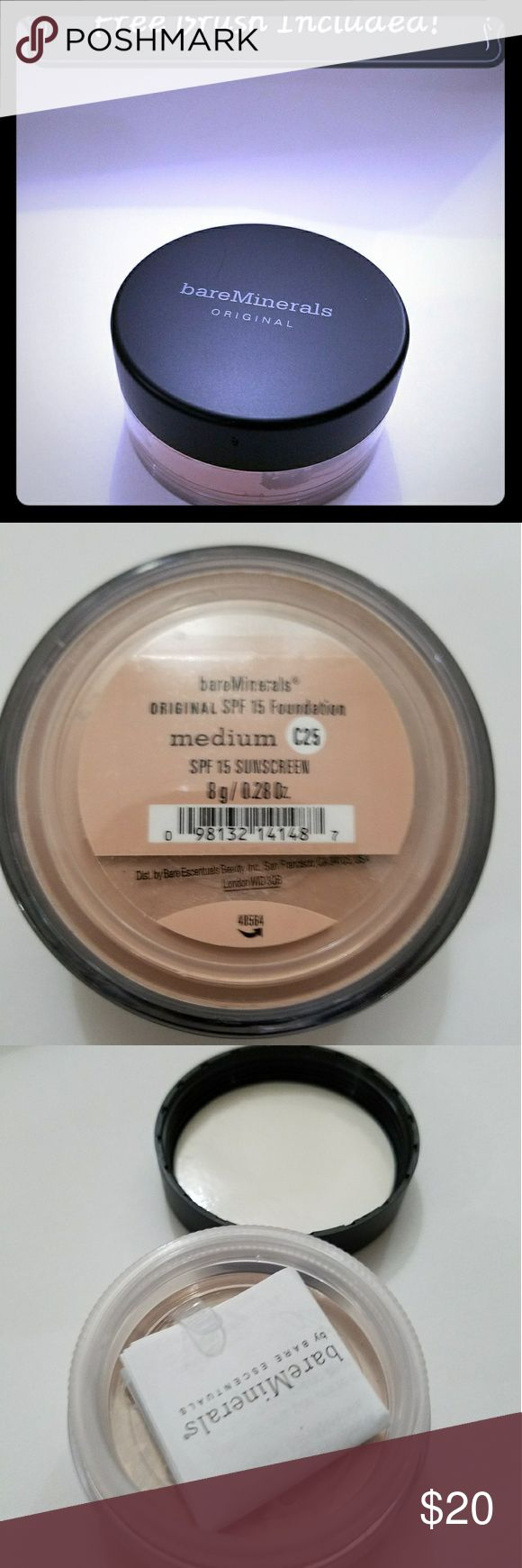 Bare minerals Powder foundation NEW🎉 Brand new bare minerals foundation powder Color is Medium C25 SPF 15 sunscreen  Full sized 8g Free brush included bareMinerals Makeup Face Powder