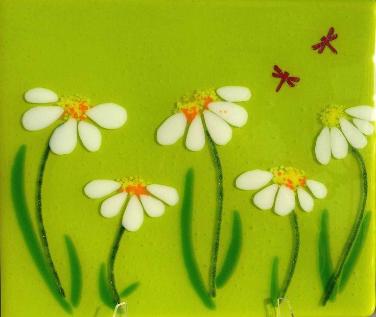 Unique handmade glass splashback design- Cone Flowers on Spring Green   Glassification