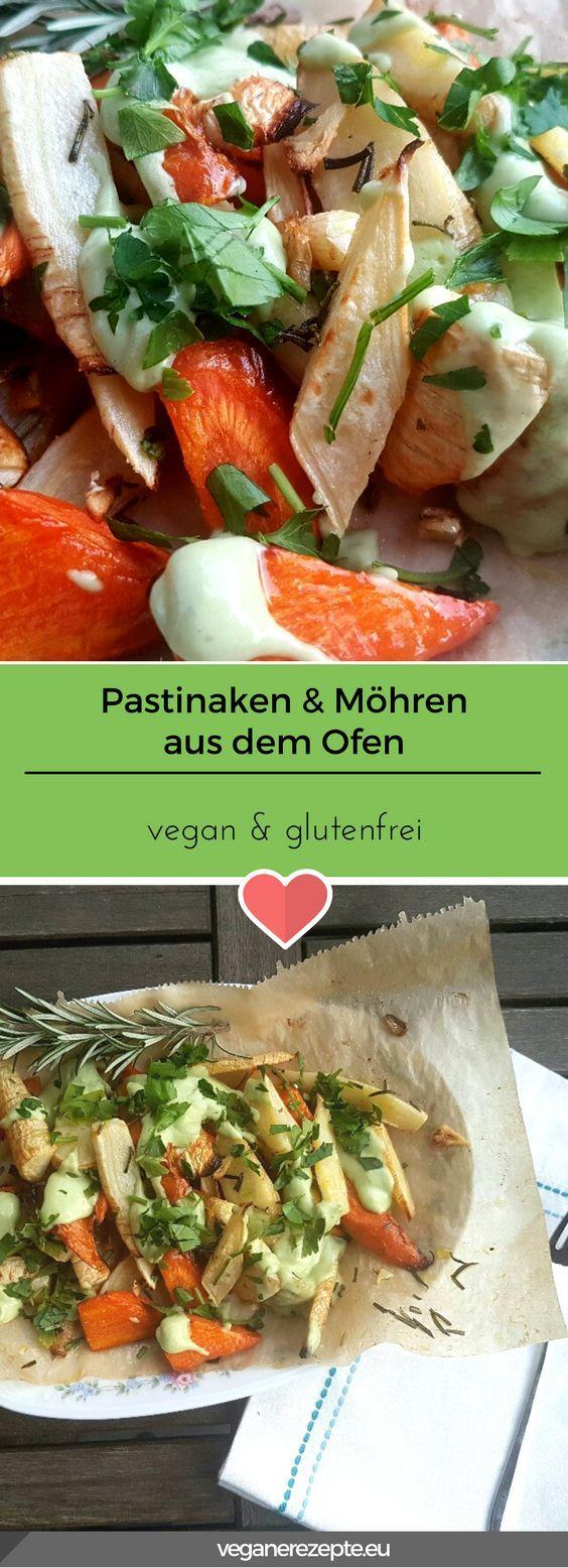 Lecker Ofengemüse! Schnell gemacht und sättigend. Pastinaken und Möhren aus dem Ofen mit feiner Sauce. #vegan #glutenfrei #ofengemüse #pastinaken #möhren #ofen #rezept