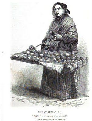 Costermongers were street vendors who sold a variety of fruits, pies and treats. They began to be seen in the 17th century but continued on well through the Victorian era.