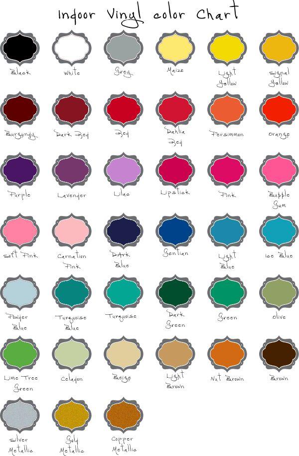 Charts Showing Indoor Vinyl Colors Outdoor Vinyl Colors