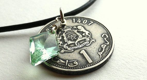 Moroccan Coin necklace Swarovski necklace by CoinStories on Etsy