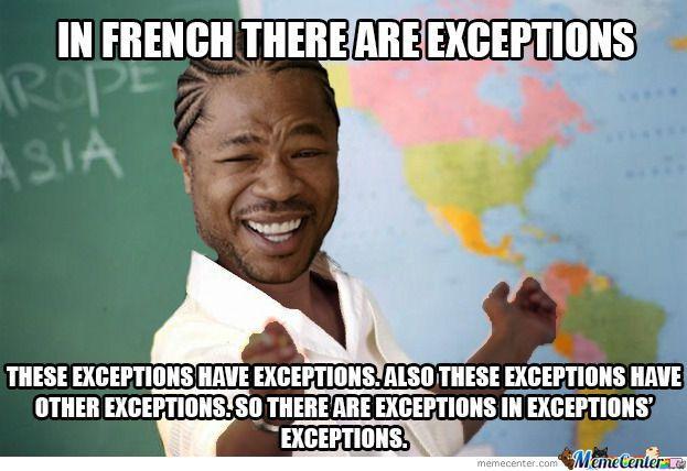 il y a toujours tant d'exceptions à apprendre en français 1