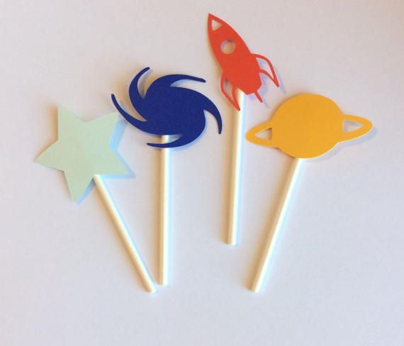 Space Cupcake toppers Set of 12 Space Themed Cupcake Toppers