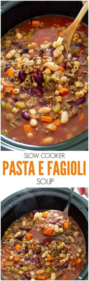 Super Easy Slow Cooker Pasta e Fagioli Soup. Rich, hearty and loaded with veggies and meat. A perfect, comforting soup for Fall!