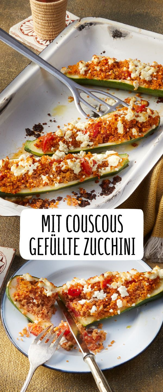 Mit Couscous gefüllte Zucchini