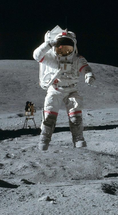 John Young on the moon, leaping into the air whilst saluting the Stars and Stripes.