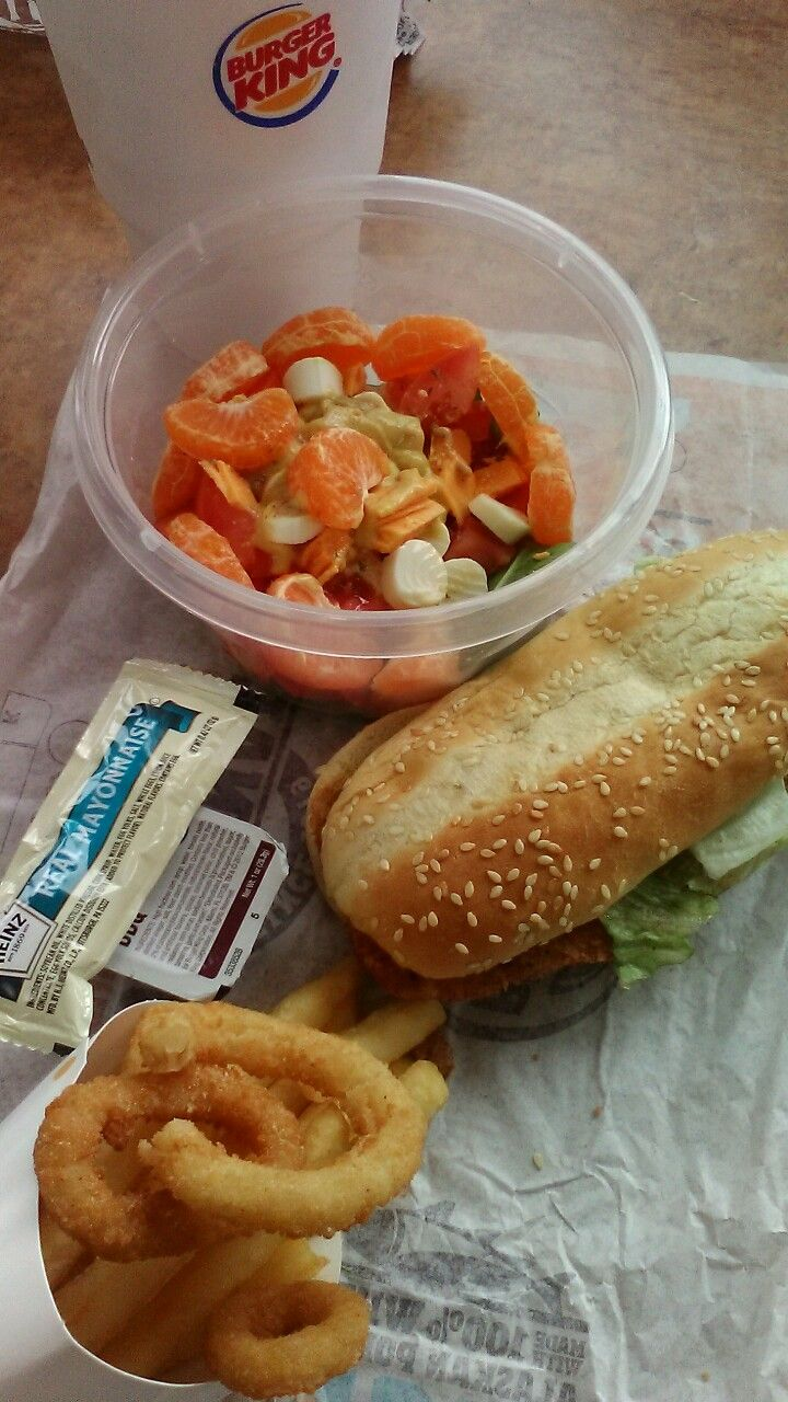 (Lunch 10/19/2017) Burger King Chicken Sandwich with Onion Rings & French Fries, Mayo/BBQ, Salad with Spinach Leaves, Tomato, Hard Boiled Egg, Sargento Low Fat Cheese, Low Fat Cheese Stick, Clementine, Dijon Honey Mustard