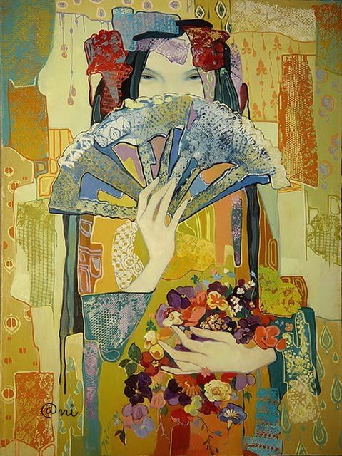 Fan by Maia Ramishvilli (b1969; Tbilisi, Georgia) aka Maia Ramish | comment from Maia's Daughter Ani: 'This painting one is her (Mommy) favorite.'