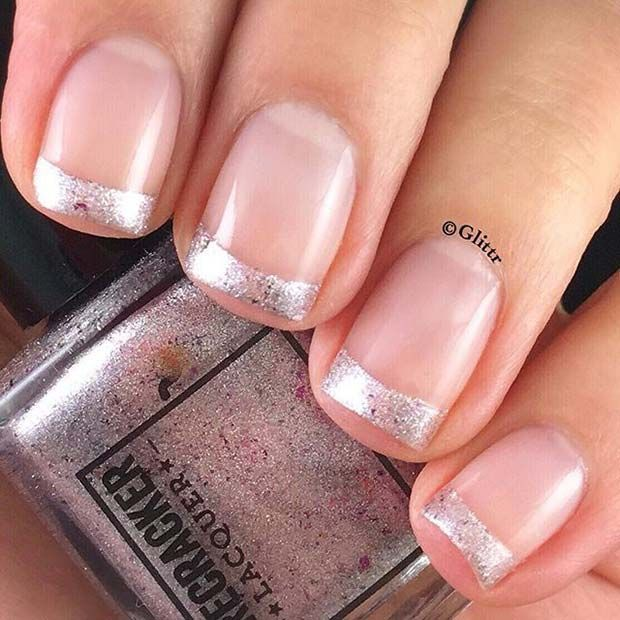 Silver French Manicure for Elegant Nail Designs for Short Nails