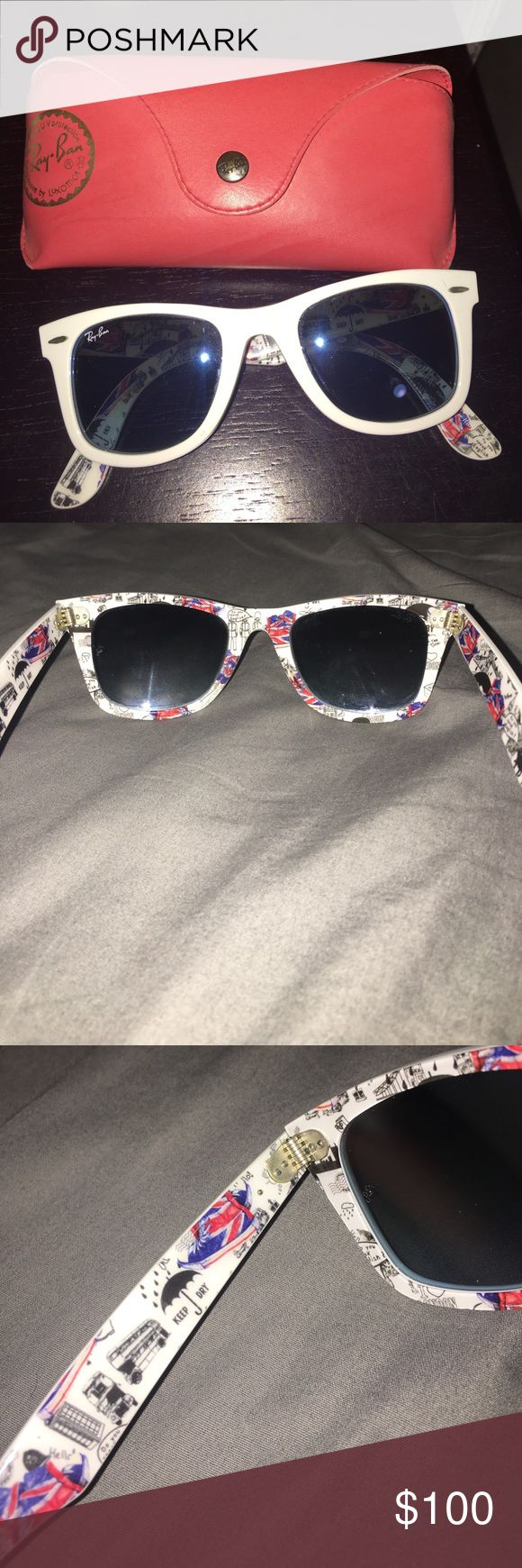 """Ray Ban Wayfarer sunglasses Hardly worn white ray ban wayfarer, these are the """"London edition"""" with blue lenses. They're super cute for summer and they are in great shape! No scratches on the lens or knicks on the frame Ray-Ban Accessories Sunglasses"""