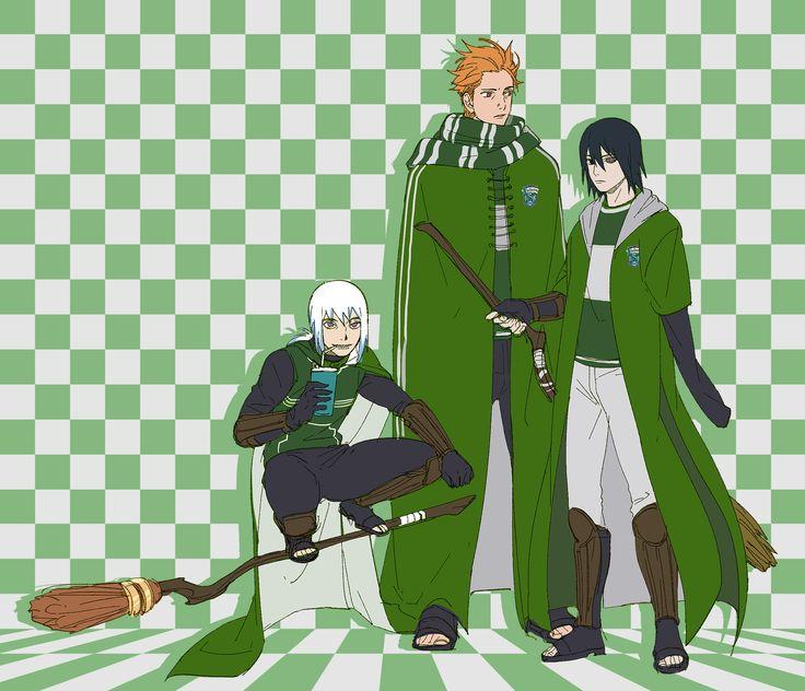 Houzuki Suigetsu, Juugo, and Uchiha Sasuke - Slytherin - Harry Potter #parody