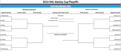 2012-2013 nhl stanley cup playoffs bracket in excel. printable and downloadable